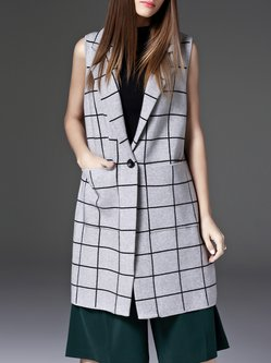 Gray Knitted Checkered/Plaid Lapel Sleeveless Vests And Gilet