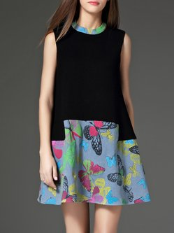 Black Floral Printed Casual Color-block A-line Mini Dress