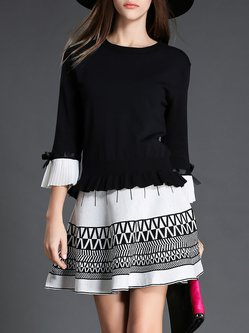 Black Two Piece Color Block Ruffle Bell Sleeve Pleated A-line Midi Dress