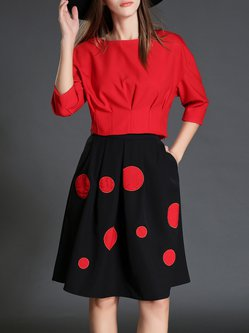 Red Sweet Two Piece Polka Dots Folds Midi Dress