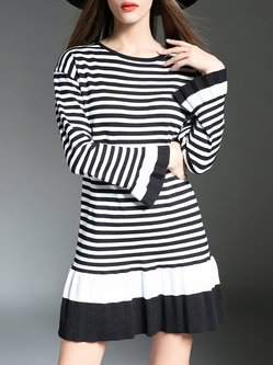 Black Frill Sleeve Color-block Flounce Stripes Sweater Dress
