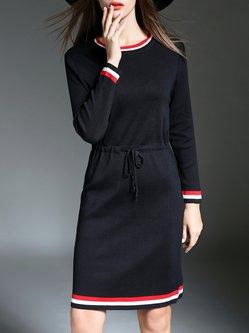 Black Casual Shift Crew Neck Stripes Sweater Dress