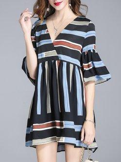 Multicolor Stripes Casual A-line Mini Dress