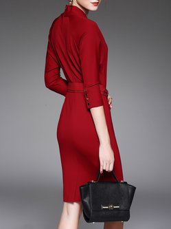 Red 3/4 Sleeve Symmetric Solid Midi Dress
