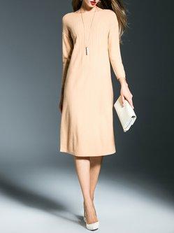 Pleated Plain Long Sleeve Simple Wool Midi Dress