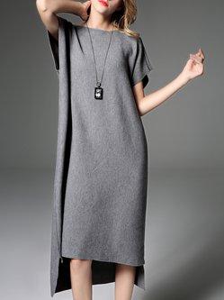 Gray Asymmetric Simple Wool Midi Dress