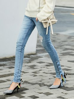 Light Blue Lace Up Solid Casual Skinny Leg Pants