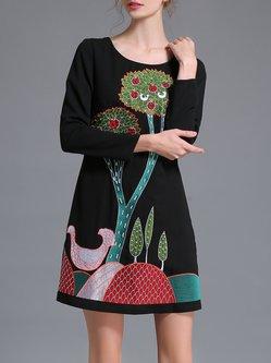 Black Embroidered Elegant Long Sleeve Mini Dress