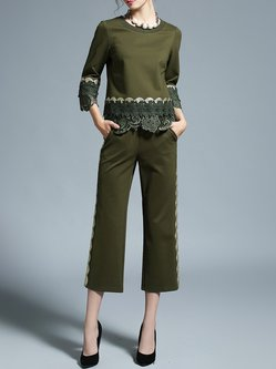 Army Green 3/4 Sleeve Pockets Appliqued Two Piece Jumpsuit