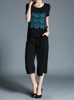 Black Two Piece Applique Short Sleeve Casual Jumpsuit