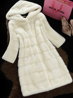 Solid Long Sleeve Fluffy Casual Coat