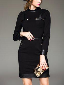 Black Elegant Paneled Bodycon Midi Dress