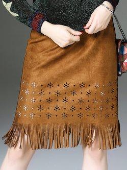 Brown Fringed Pierced Statement Midi Skirt