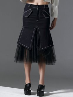 Black Statement Paneled Mermaid Midi Skirt