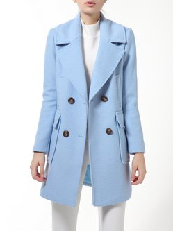Light Blue Lapel Buttoned Long Sleeve Trench Coat