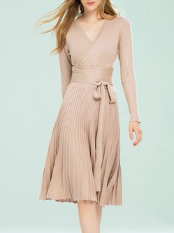 Apricot Plain Casual Pleated Midi Dress