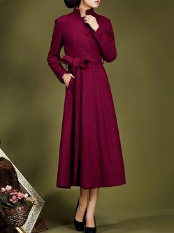 Crimson Pockets Stand Collar Shift Work Coat