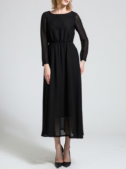 Boat Neck Swing Casual Cotton-blend Long Sleeve Maxi Dress