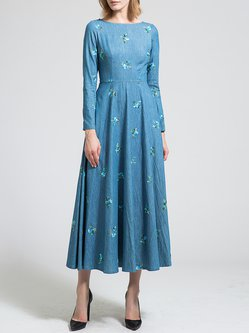 Blue Embroidered Long Sleeve Bateau/boat Neck Maxi Dress