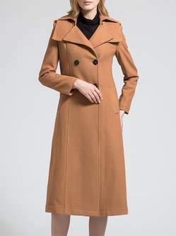 Camel Plain Buttoned Elegant Wool Blend Trench Coat