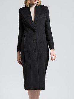 Black V Neck Wool Blend Simple Buttoned Coat