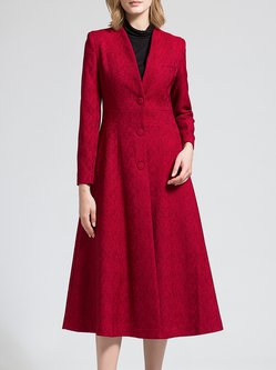 Red A-line Cotton-blend Jacquard Vintage Coat