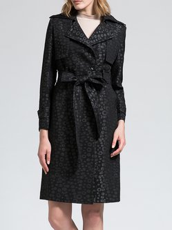 Black A-line Lapel Long Sleeve Trench Coat