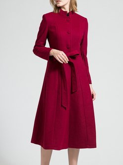 Long Sleeve Stand Collar A-line Simple Plain Wool-blend Coat