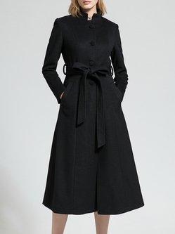 Black Stand Collar Long Sleeve Plain Wool-blend Coat