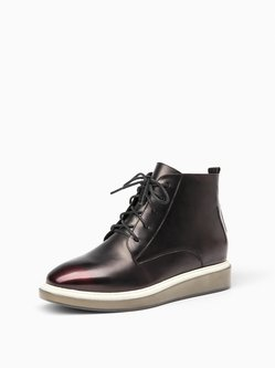 Platform Casual Lace-up Leather Boots
