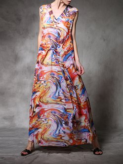 Multicolor Abstract Sleeveless Maxi Dress
