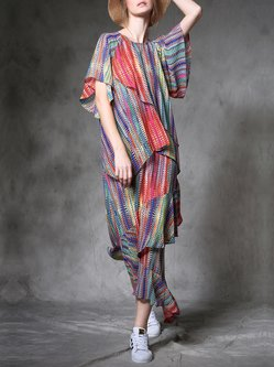Multicolor Casual Ruffled Flounce Chiffon Maxi Dress
