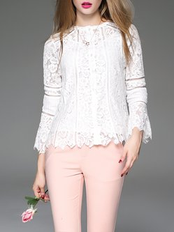 White H-line Floral Long Sleeve Guipure Lace Blouse