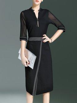 Simple Cotton-blend 3/4 Sleeve Midi Dress