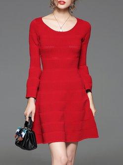 Jacquard Plain Elegant A-line Long Sleeve Mini Dress