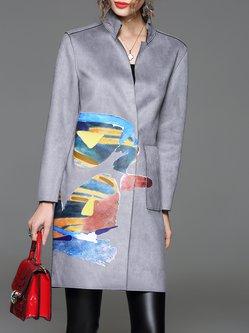 Gray Long Sleeve Abstract Printed Coat