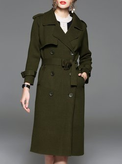 Army Green Plain Buttoned Elegant Trench Coat