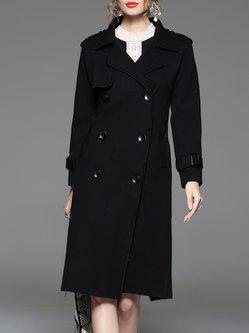 Black Lapel Shift Elegant Trench Coat