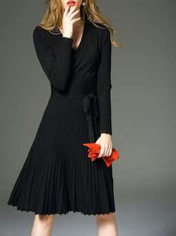 Black Pleated Long Sleeve Plain Cotton Midi Dress