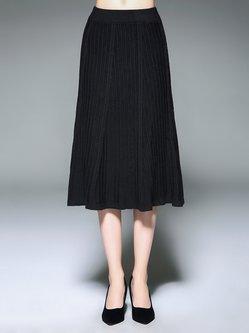Black Casual Ribbed Midi Skirt