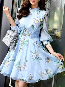 Sky Blue 3/4 Sleeve Floral Crew Neck Midi Dress