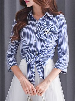 Elegant Shirt Collar Bow Beaded Long Sleeve Stripes Blouse