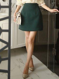 Dark Green A-line Elegant Plain Mini Skirt