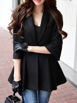 Black 3/4 Sleeve Wool Blend Lapel Ruffled Coat