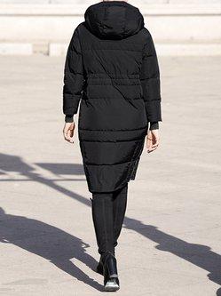Black Solid Hoodie Long Sleeve Down Coat