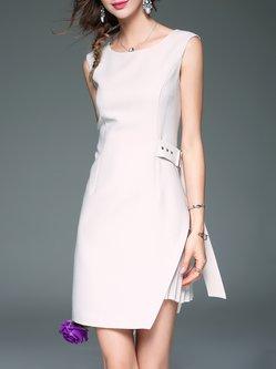 Beige Sleeveless Plain Slit Pleated Sheath Midi Dress