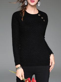 Black Wool Crew Neck Knitted Long Sleeve Sweater