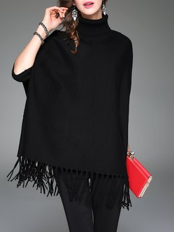 Black Plain Batwing Fringed Turtleneck Poncho And Cape