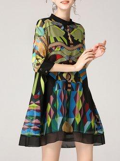 Multicolor Printed Half Sleeve Shift Mini Dress
