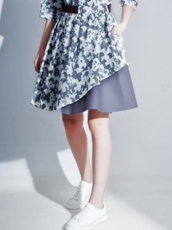 Gray Cotton Paneled Abstract Casual Midi Skirt